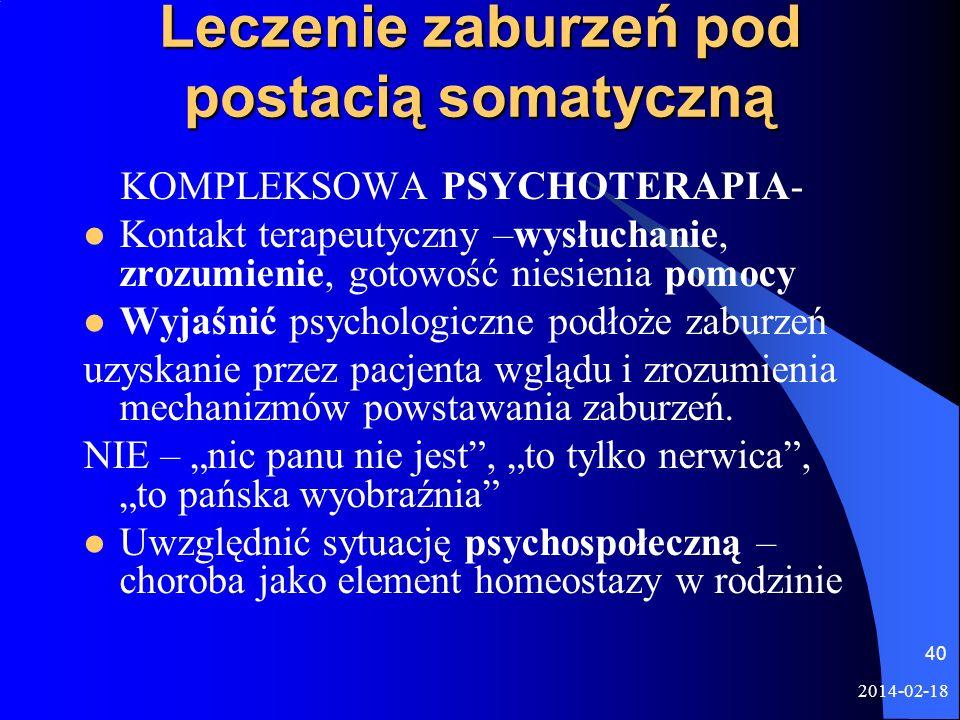 2014-02-18 40 Leczenie zaburzeń pod postacią somatyczną KOMPLEKSOWA PSYCHOTERAPIA- Kontakt terapeutyczny –wysłuchanie, zrozumienie, gotowość niesienia