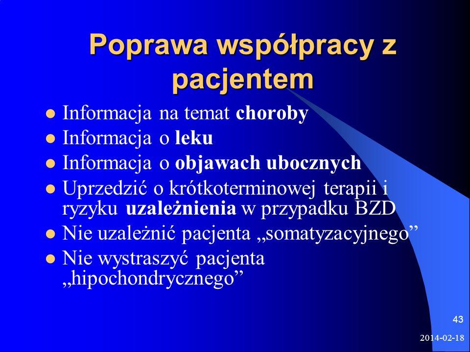 2014-02-18 43 Poprawa współpracy z pacjentem Informacja na temat choroby Informacja o leku Informacja o objawach ubocznych Uprzedzić o krótkoterminowe
