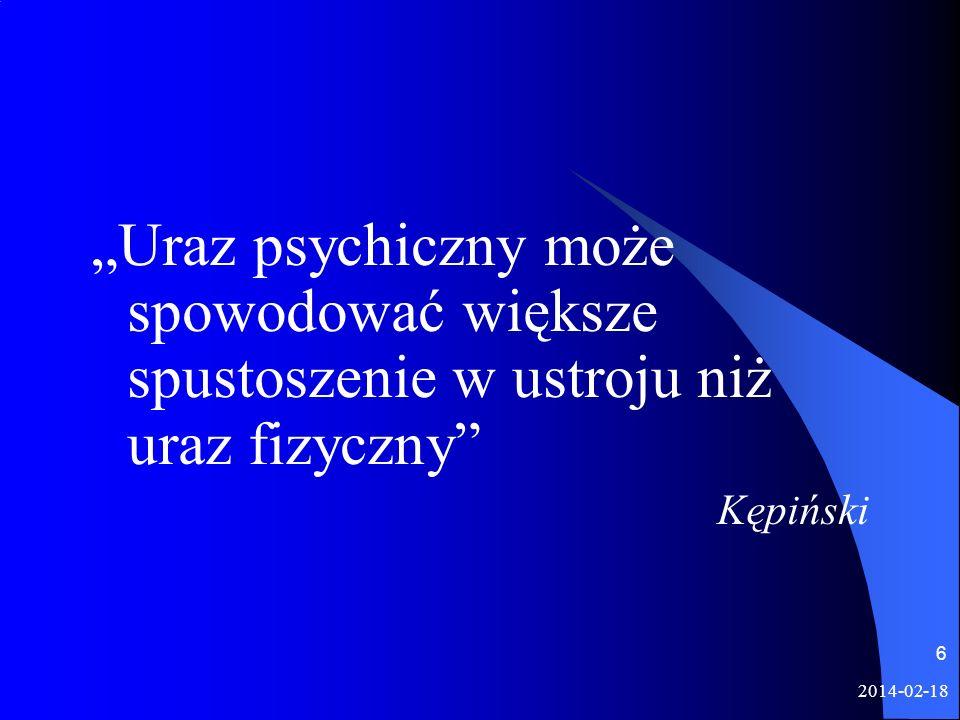 2014-02-18 6 Uraz psychiczny może spowodować większe spustoszenie w ustroju niż uraz fizyczny Kępiński