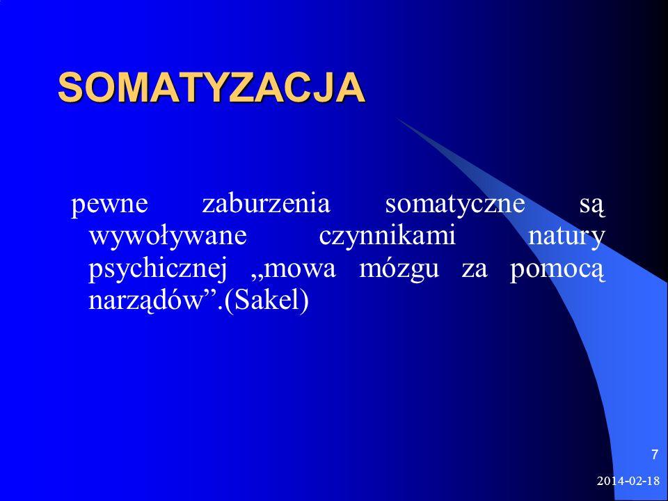 2014-02-18 7 SOMATYZACJA pewne zaburzenia somatyczne są wywoływane czynnikami natury psychicznej mowa mózgu za pomocą narządów.(Sakel)