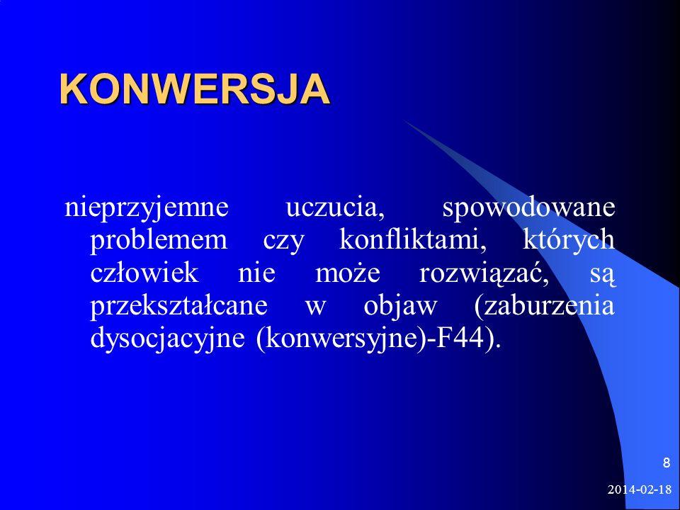 2014-02-18 8 KONWERSJA nieprzyjemne uczucia, spowodowane problemem czy konfliktami, których człowiek nie może rozwiązać, są przekształcane w objaw (za