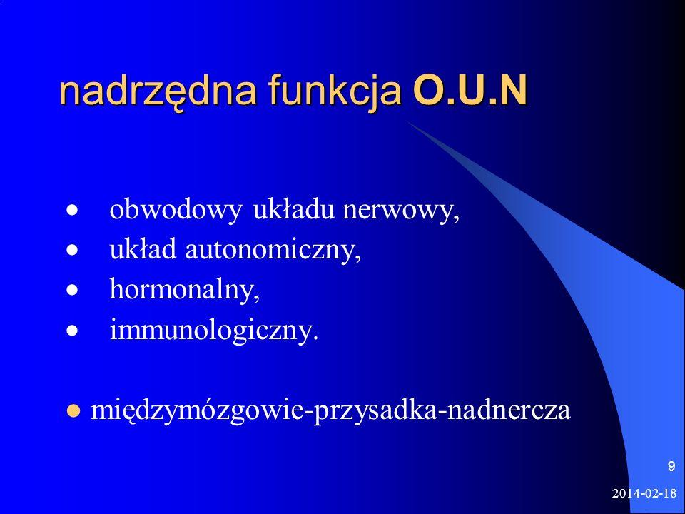 2014-02-18 9 nadrzędna funkcja O.U.N obwodowy układu nerwowy, układ autonomiczny, hormonalny, immunologiczny. międzymózgowie-przysadka-nadnercza