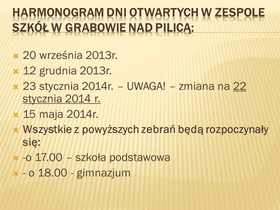 20 września 2013r. 12 grudnia 2013r. 23 stycznia 2014r. – UWAGA! – zmiana na 22 stycznia 2014 r. 15 maja 2014r. Wszystkie z powyższych zebrań będą roz