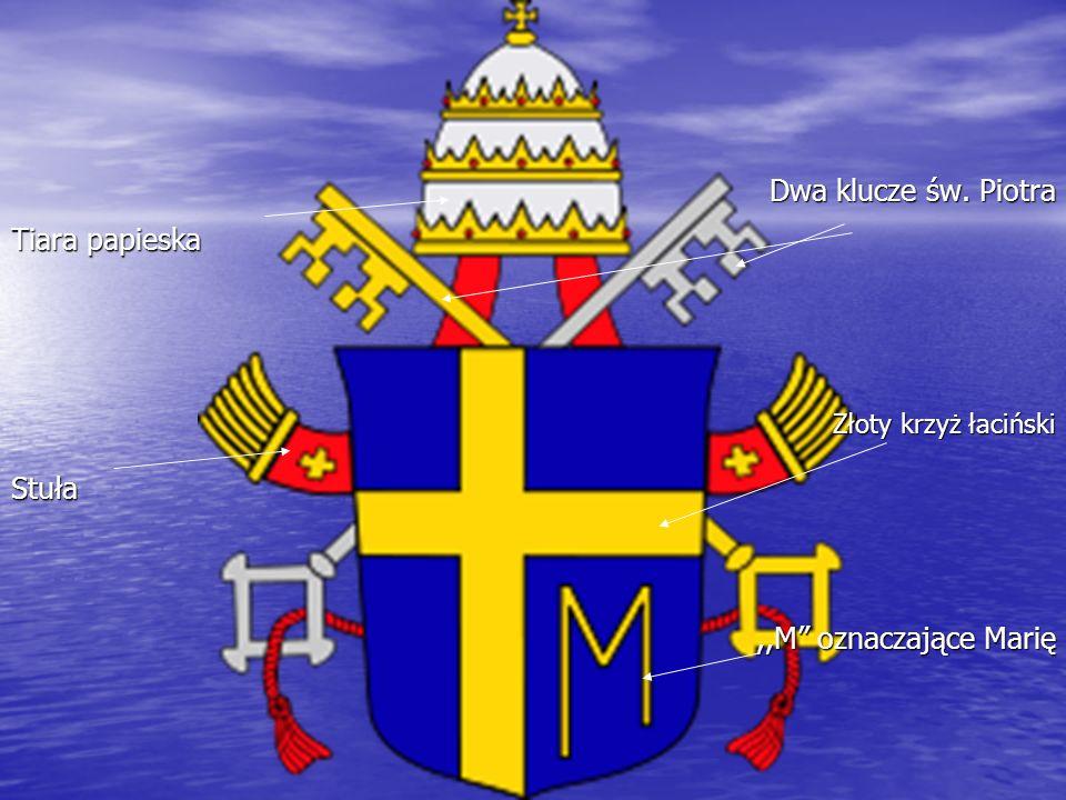 Tiara papieska Stuła Dwa klucze św. Piotra Złoty krzyż łaciński,,M oznaczające Marię