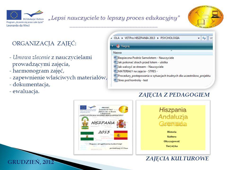 GRUDZIEŃ, 2012 ORGANIZACJA ZAJĘĆ: - Umowa zlecenie z nauczycielami prowadzącymi zajęcia, - harmonogram zajęć, - zapewnienie właściwych materiałów, - d