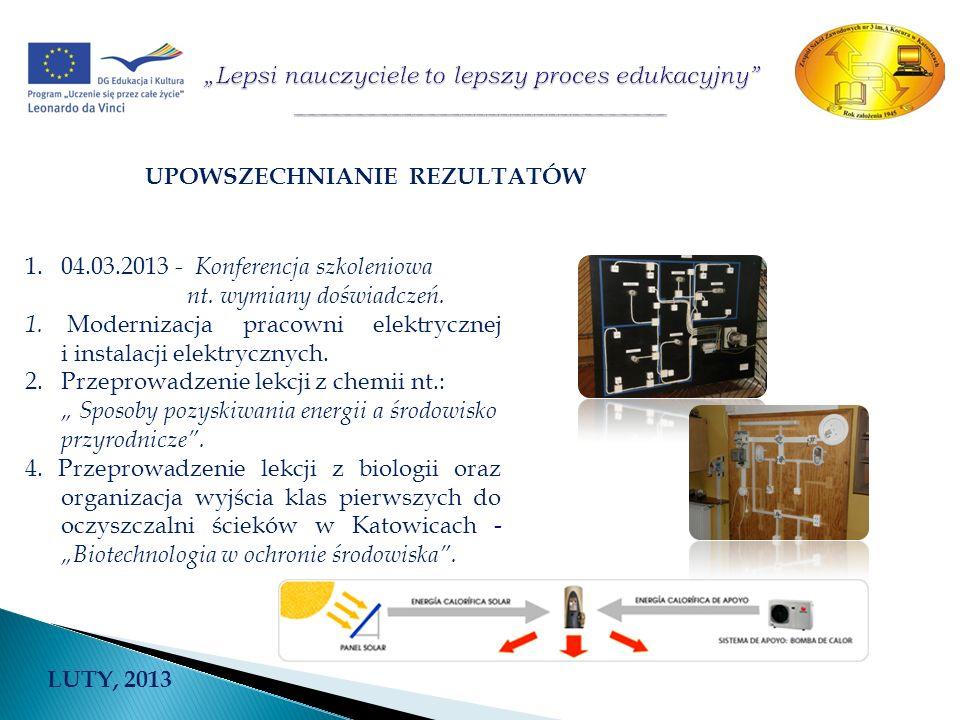 UPOWSZECHNIANIE REZULTATÓW 1.04.03.2013 - Konferencja szkoleniowa nt. wymiany doświadczeń. 1. Modernizacja pracowni elektrycznej i instalacji elektryc