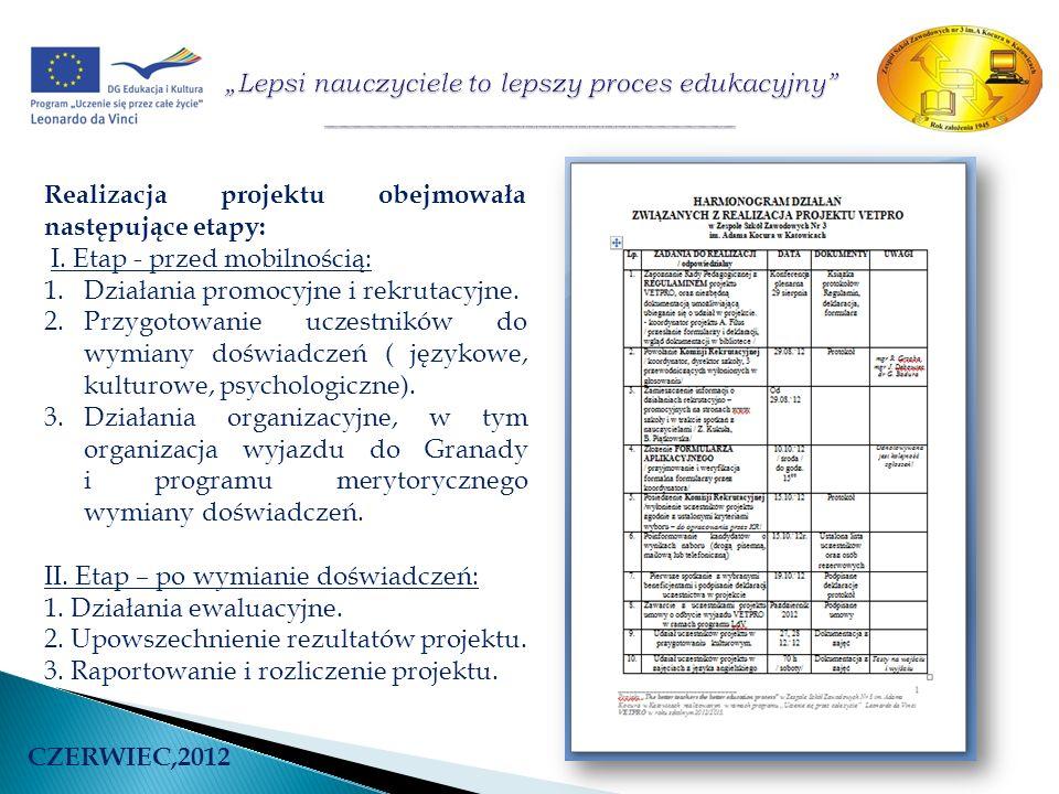 Realizacja projektu obejmowała następujące etapy: I. Etap - przed mobilnością: 1.Działania promocyjne i rekrutacyjne. 2.Przygotowanie uczestników do w