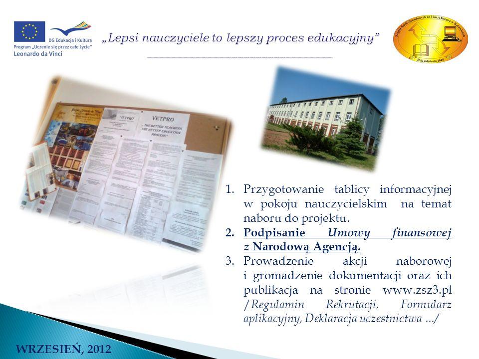 WRZESIEŃ, 2012 1.Przygotowanie tablicy informacyjnej w pokoju nauczycielskim na temat naboru do projektu. 2.Podpisanie Umowy finansowej z Narodową Age