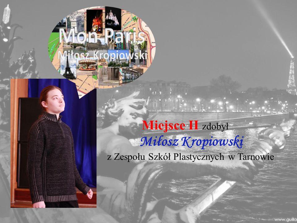 Miejsce II zdobył Miłosz Kropiowski z Zespołu Szkół Plastycznych w Tarnowie