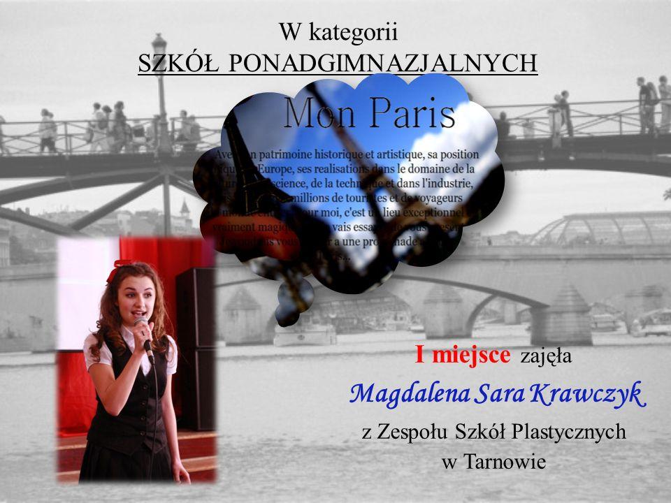 W kategorii SZKÓŁ PONADGIMNAZJALNYCH I miejsce zajęła Magdalena Sara Krawczyk z Zespołu Szkół Plastycznych w Tarnowie