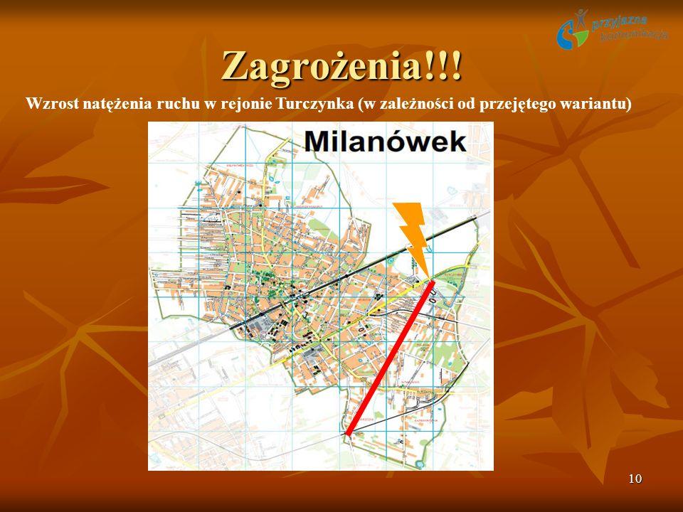 10 Zagrożenia!!! Wzrost natężenia ruchu w rejonie Turczynka (w zależności od przejętego wariantu)
