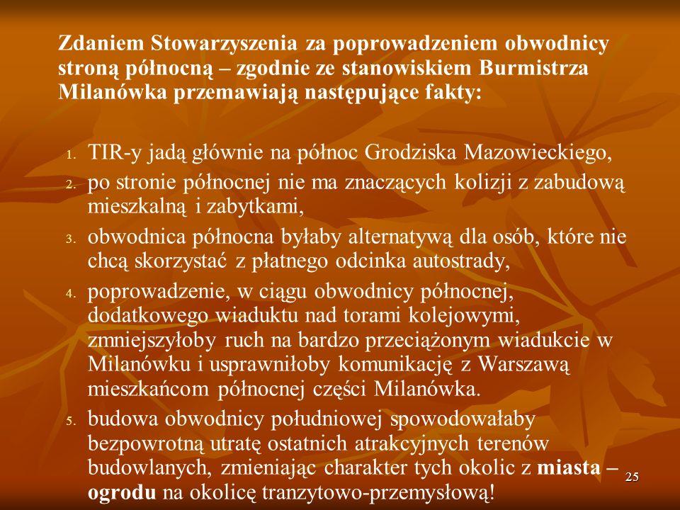 25 Zdaniem Stowarzyszenia za poprowadzeniem obwodnicy stroną północną – zgodnie ze stanowiskiem Burmistrza Milanówka przemawiają następujące fakty: 1.