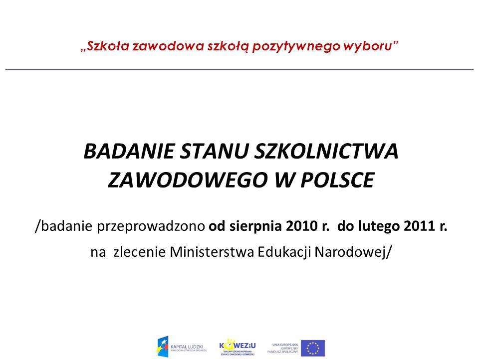 Szkoła zawodowa szkołą pozytywnego wyboru BADANIE STANU SZKOLNICTWA ZAWODOWEGO W POLSCE /badanie przeprowadzono od sierpnia 2010 r.