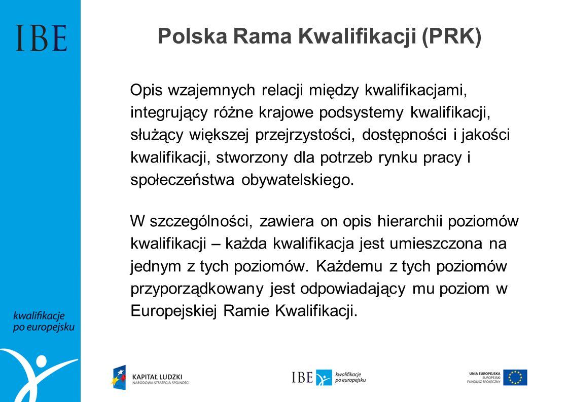Polska Rama Kwalifikacji (PRK) Opis wzajemnych relacji między kwalifikacjami, integrujący różne krajowe podsystemy kwalifikacji, służący większej przejrzystości, dostępności i jakości kwalifikacji, stworzony dla potrzeb rynku pracy i społeczeństwa obywatelskiego.