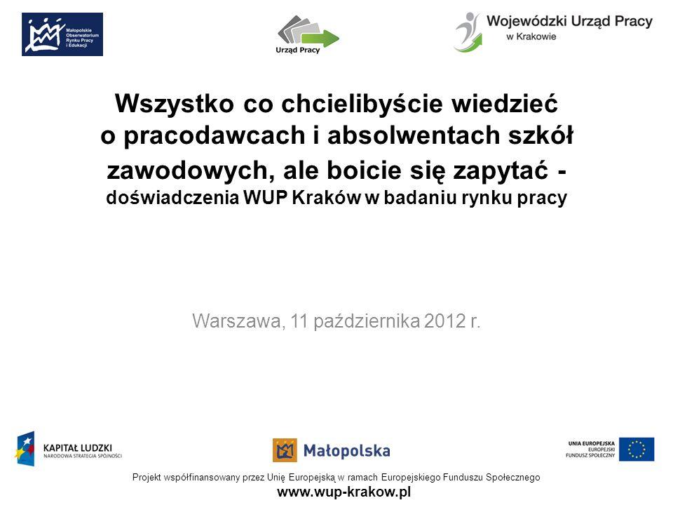 www.wup-krakow.pl Projekt współfinansowany przez Unię Europejską w ramach Europejskiego Funduszu Społecznego Wszystko co chcielibyście wiedzieć o pracodawcach i absolwentach szkół zawodowych, ale boicie się zapytać - doświadczenia WUP Kraków w badaniu rynku pracy Warszawa, 11 października 2012 r.