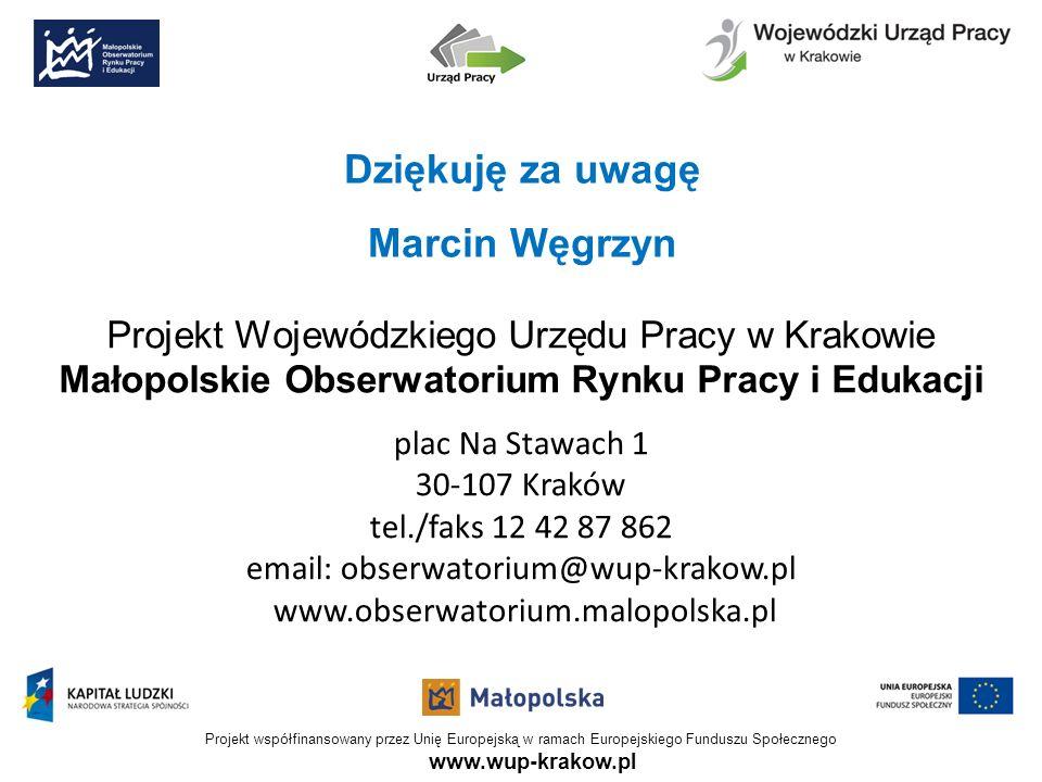 Projekt Wojewódzkiego Urzędu Pracy w Krakowie Małopolskie Obserwatorium Rynku Pracy i Edukacji plac Na Stawach 1 30-107 Kraków tel./faks 12 42 87 862
