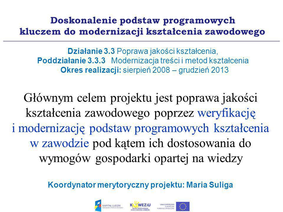 Głównym celem projektu jest poprawa jakości kształcenia zawodowego poprzez weryfikację i modernizację podstaw programowych kształcenia w zawodzie pod kątem ich dostosowania do wymogów gospodarki opartej na wiedzy Koordynator merytoryczny projektu: Maria Suliga Doskonalenie podstaw programowych kluczem do modernizacji kształcenia zawodowego Działanie 3.3 Poprawa jakości kształcenia, Poddziałanie 3.3.3 Modernizacja treści i metod kształcenia Okres realizacji: sierpień 2008 – grudzień 2013