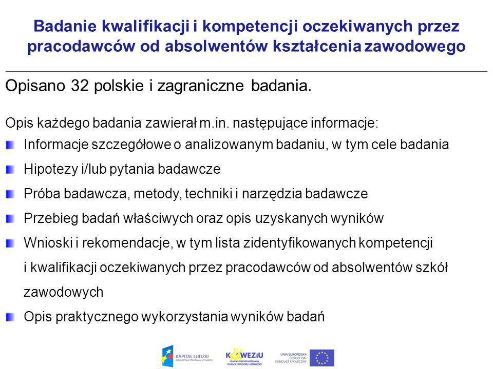Badanie kwalifikacji i kompetencji oczekiwanych przez pracodawców od absolwentów kształcenia zawodowego Opisano 32 polskie i zagraniczne badania.