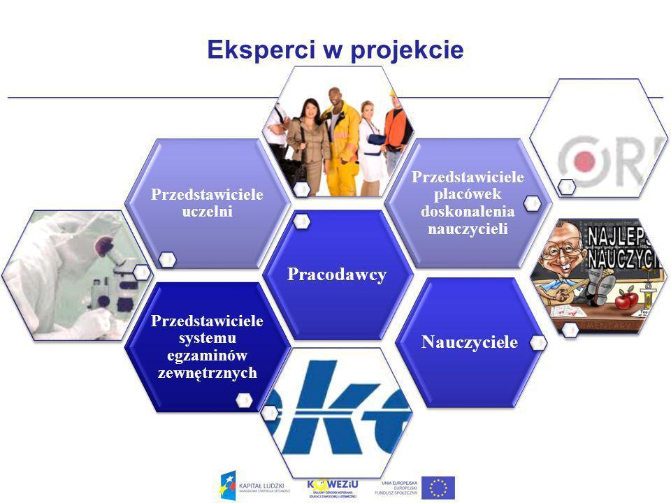 Eksperci w projekcie Przedstawiciele systemu egzaminów zewnętrznych Pracodawcy Przedstawiciele uczelni Przedstawiciele placówek doskonalenia nauczycieli Nauczyciele