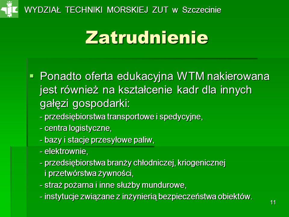 11 Zatrudnienie Ponadto oferta edukacyjna WTM nakierowana jest również na kształcenie kadr dla innych gałęzi gospodarki: Ponadto oferta edukacyjna WTM