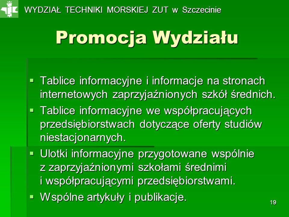 19 Promocja Wydziału Tablice informacyjne i informacje na stronach internetowych zaprzyjaźnionych szkół średnich. Tablice informacyjne i informacje na