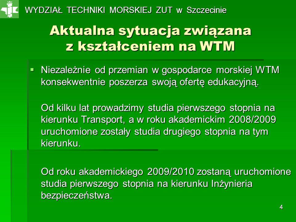 4 Aktualna sytuacja związana z kształceniem na WTM Niezależnie od przemian w gospodarce morskiej WTM konsekwentnie poszerza swoją ofertę edukacyjną. N