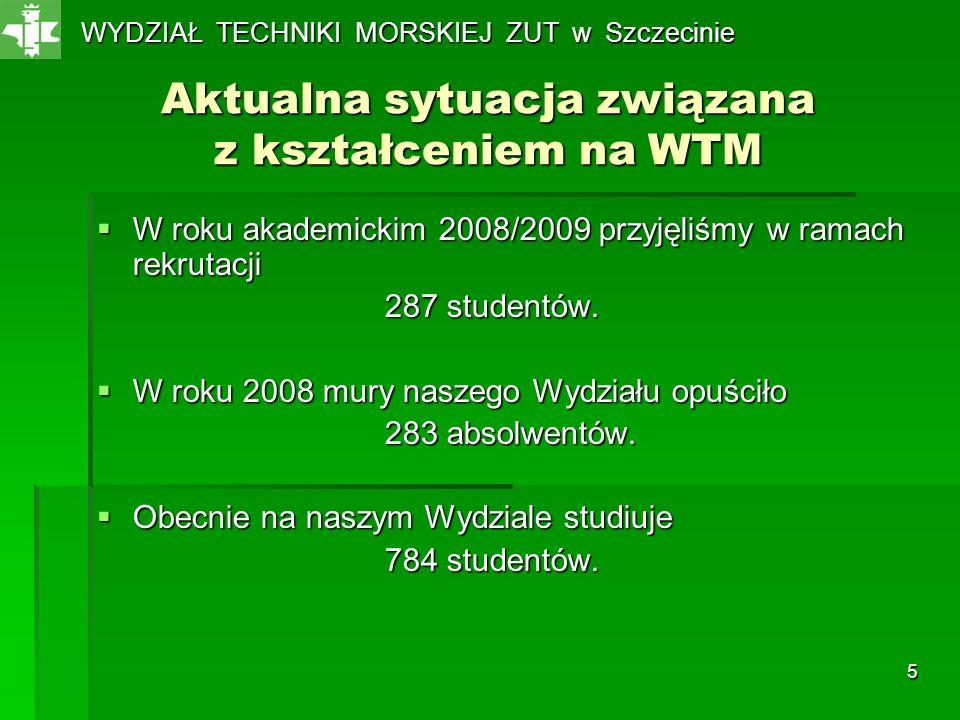 5 Aktualna sytuacja związana z kształceniem na WTM W roku akademickim 2008/2009 przyjęliśmy w ramach rekrutacji W roku akademickim 2008/2009 przyjęliś