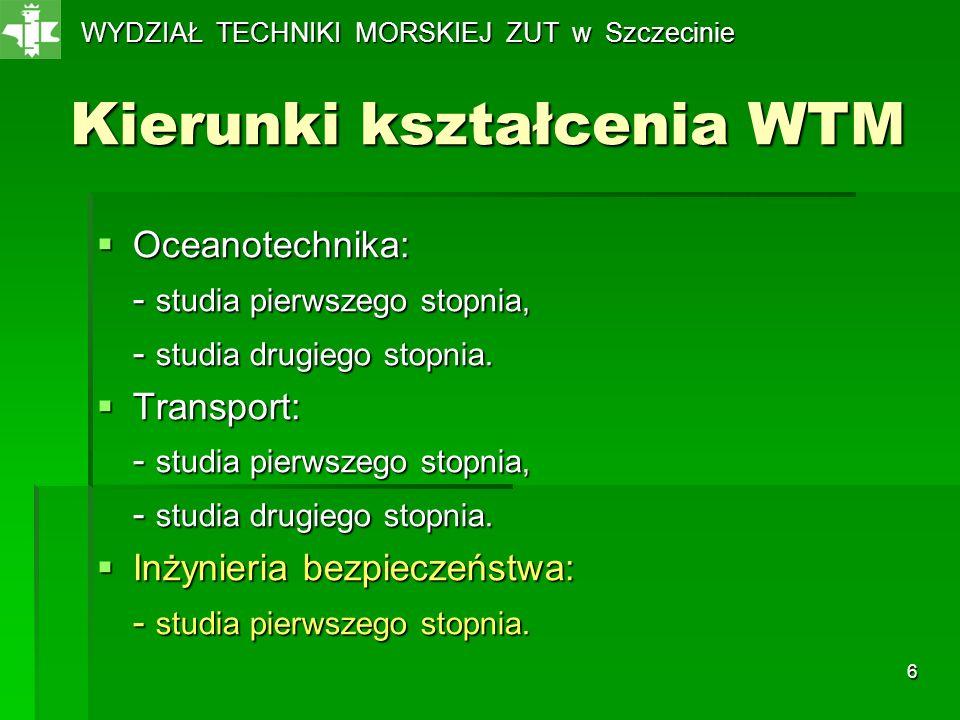 6 Kierunki kształcenia WTM Oceanotechnika: Oceanotechnika: - studia pierwszego stopnia, - studia drugiego stopnia. Transport: Transport: - studia pier
