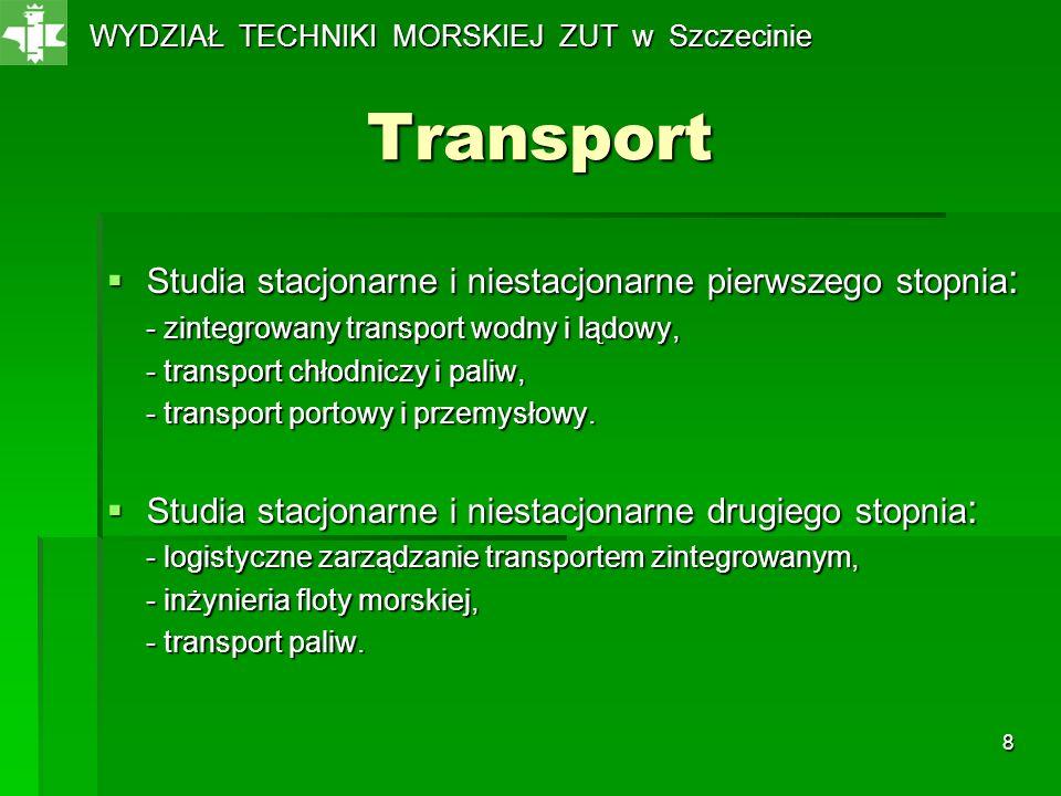 8 Transport Studia stacjonarne i niestacjonarne pierwszego stopnia : Studia stacjonarne i niestacjonarne pierwszego stopnia : - zintegrowany transport