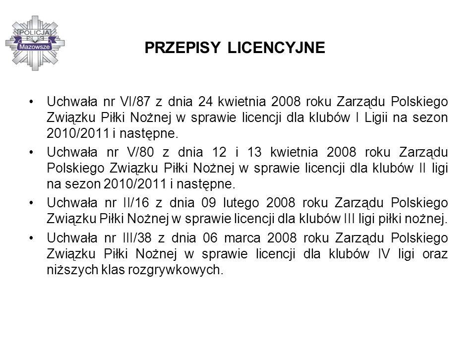 PRZEPISY LICENCYJNE Uchwała nr VI/87 z dnia 24 kwietnia 2008 roku Zarządu Polskiego Związku Piłki Nożnej w sprawie licencji dla klubów I Ligii na sezo