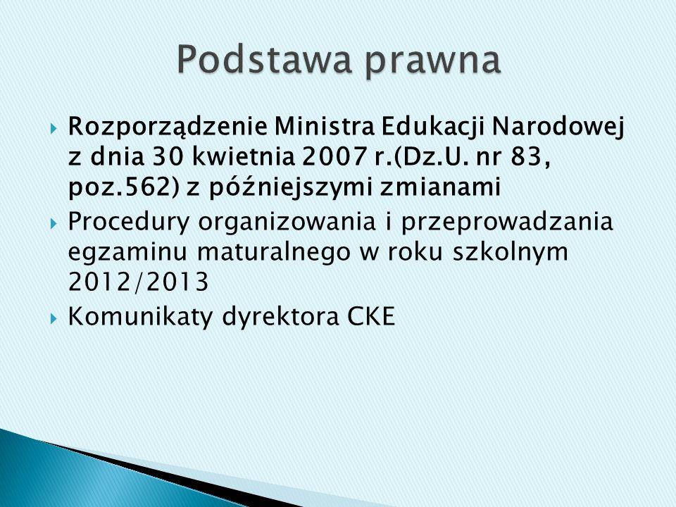 Rozporządzenie Ministra Edukacji Narodowej z dnia 30 kwietnia 2007 r.(Dz.U.