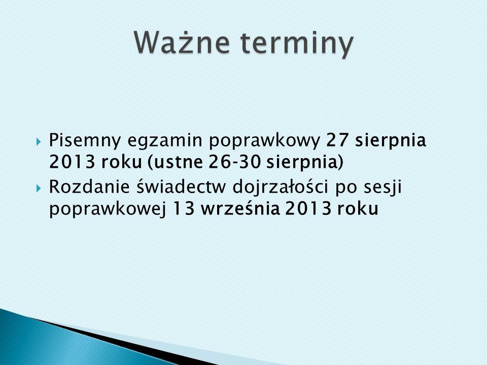 Pisemny egzamin poprawkowy 27 sierpnia 2013 roku (ustne 2630 sierpnia) Rozdanie świadectw dojrzałości po sesji poprawkowej 13 września 2013 roku