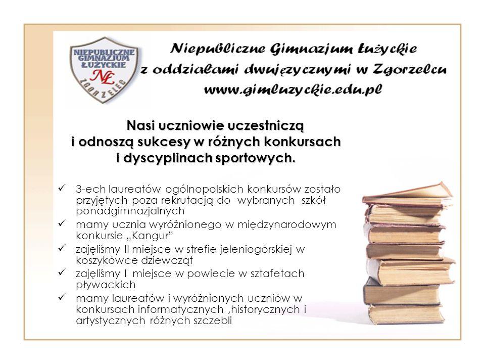 Nasi uczniowie uczestniczą i odnoszą sukcesy w różnych konkursach i dyscyplinach sportowych. 3-ech laureatów ogólnopolskich konkursów zostało przyjęty