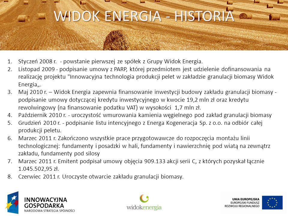 WIDOK ENERGIA - HISTORIA 1.Styczeń 2008 r. - powstanie pierwszej ze spółek z Grupy Widok Energia.