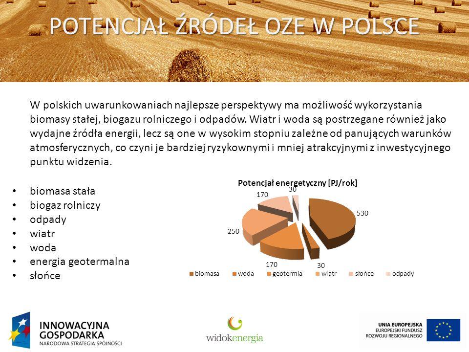 POTENCJAŁ ŹRÓDEŁ OZE W POLSCE W polskich uwarunkowaniach najlepsze perspektywy ma możliwość wykorzystania biomasy stałej, biogazu rolniczego i odpadów.