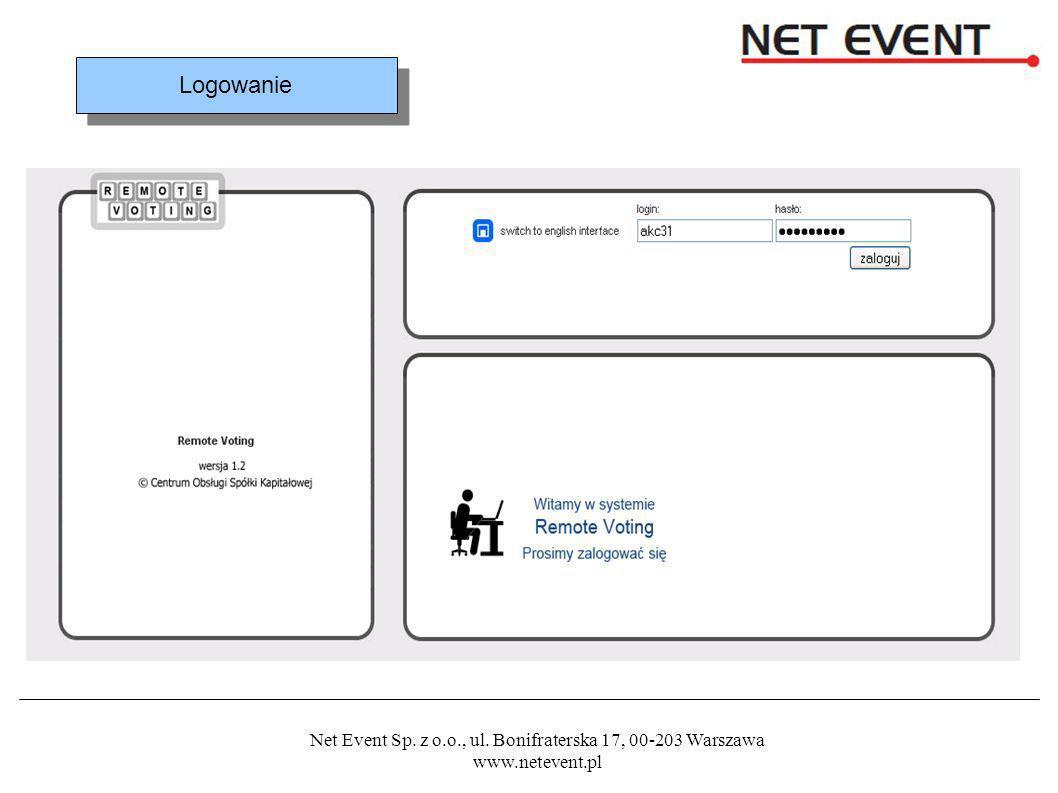 Net Event Sp. z o.o., ul. Bonifraterska 17, 00-203 Warszawa www.netevent.pl Logowanie