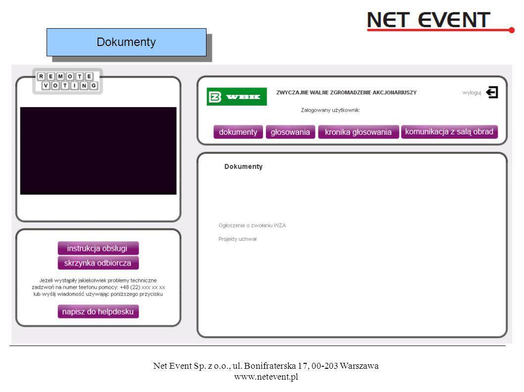 Net Event Sp. z o.o., ul. Bonifraterska 17, 00-203 Warszawa www.netevent.pl Dokumenty