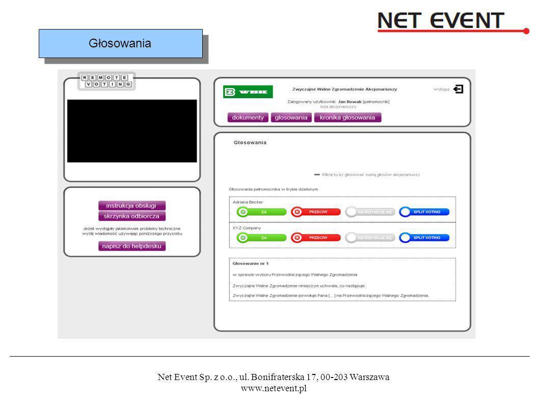Net Event Sp. z o.o., ul. Bonifraterska 17, 00-203 Warszawa www.netevent.pl Głosowania