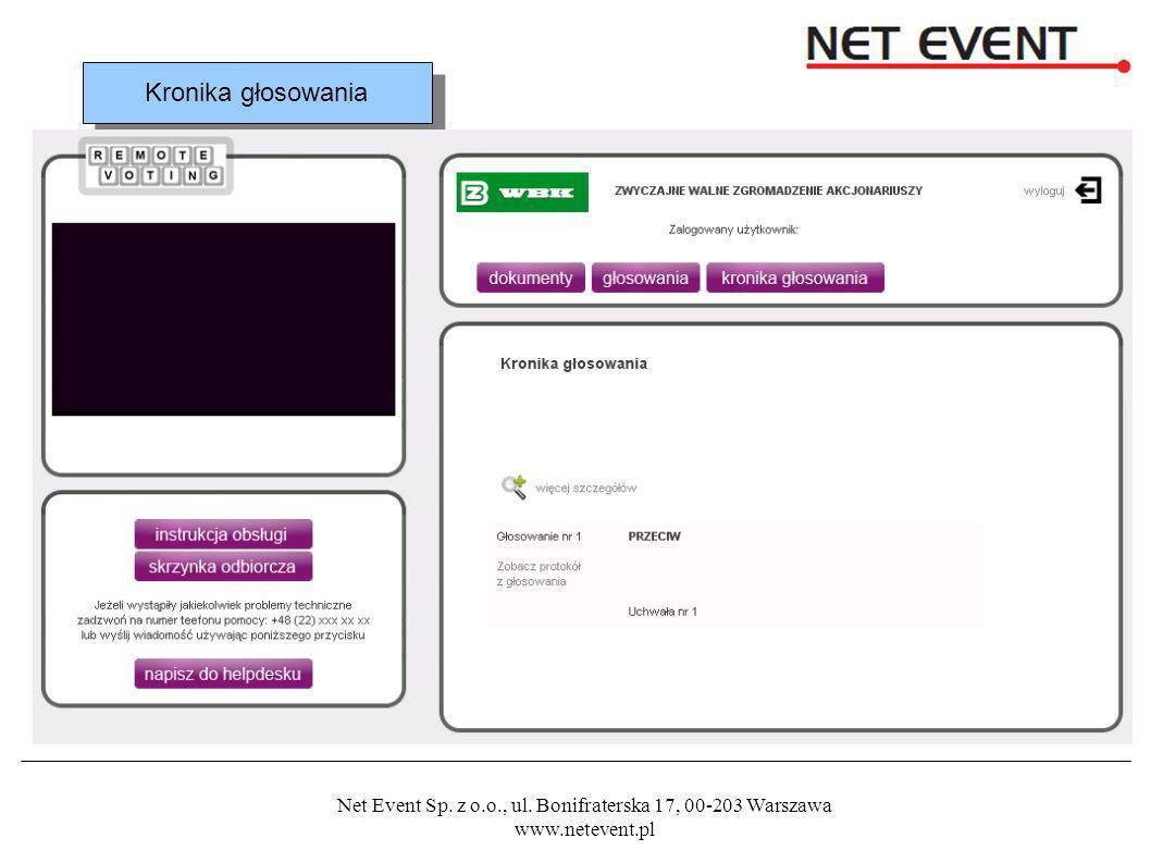 Net Event Sp. z o.o., ul. Bonifraterska 17, 00-203 Warszawa www.netevent.pl Kronika głosowania