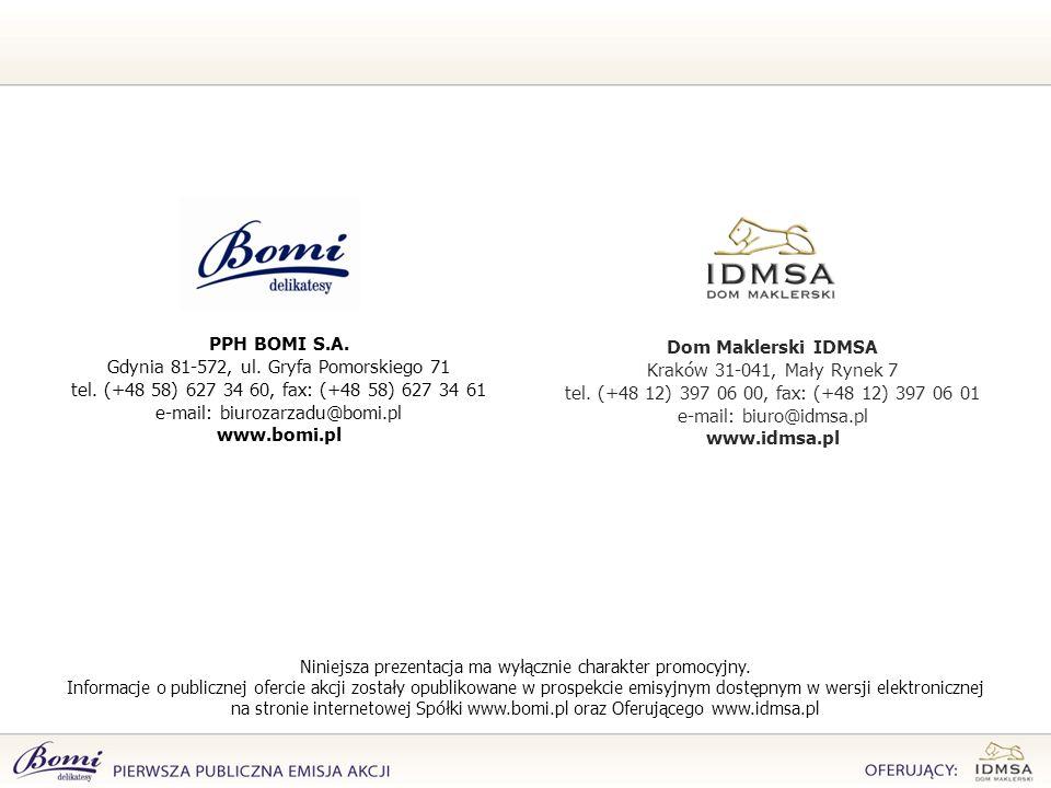 Dom Maklerski IDMSA Kraków 31-041, Mały Rynek 7 tel. (+48 12) 397 06 00, fax: (+48 12) 397 06 01 e-mail: biuro@idmsa.pl www.idmsa.pl PPH BOMI S.A. Gdy