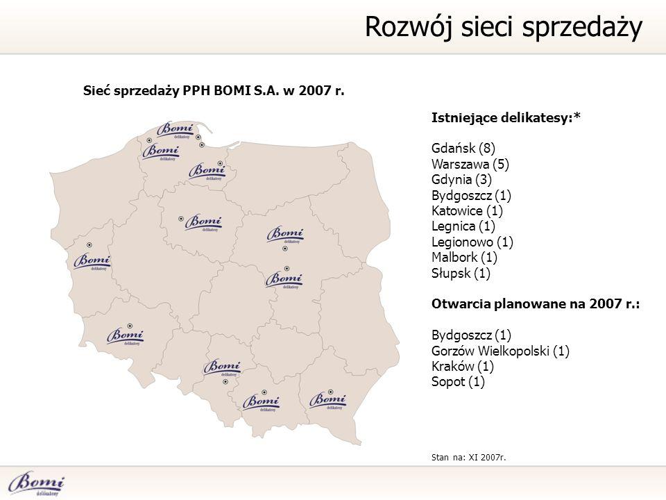 Istniejące delikatesy:* Gdańsk (8) Warszawa (5) Gdynia (3) Bydgoszcz (1) Katowice (1) Legnica (1) Legionowo (1) Malbork (1) Słupsk (1) Otwarcia planowane na 2007 r.: Bydgoszcz (1) Gorzów Wielkopolski (1) Kraków (1) Sopot (1) Stan na: XI 2007r.