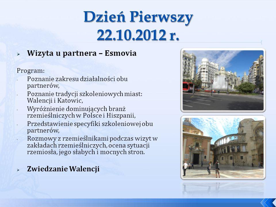 Wizyta u partnera – Esmovia Program: - Poznanie zakresu działalności obu partnerów, - Poznanie tradycji szkoleniowych miast: Walencji i Katowic, - Wyr