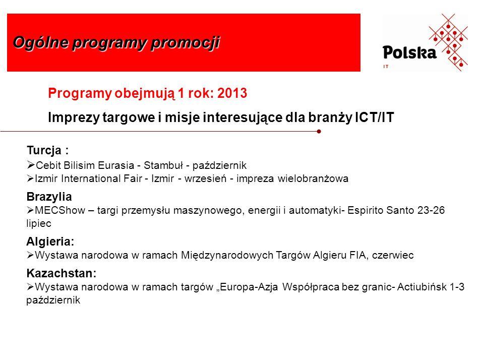 Programy obejmują 1 rok: 2013 Imprezy targowe i misje interesujące dla branży ICT/IT Ogólne programy promocji Turcja : Cebit Bilisim Eurasia - Stambuł