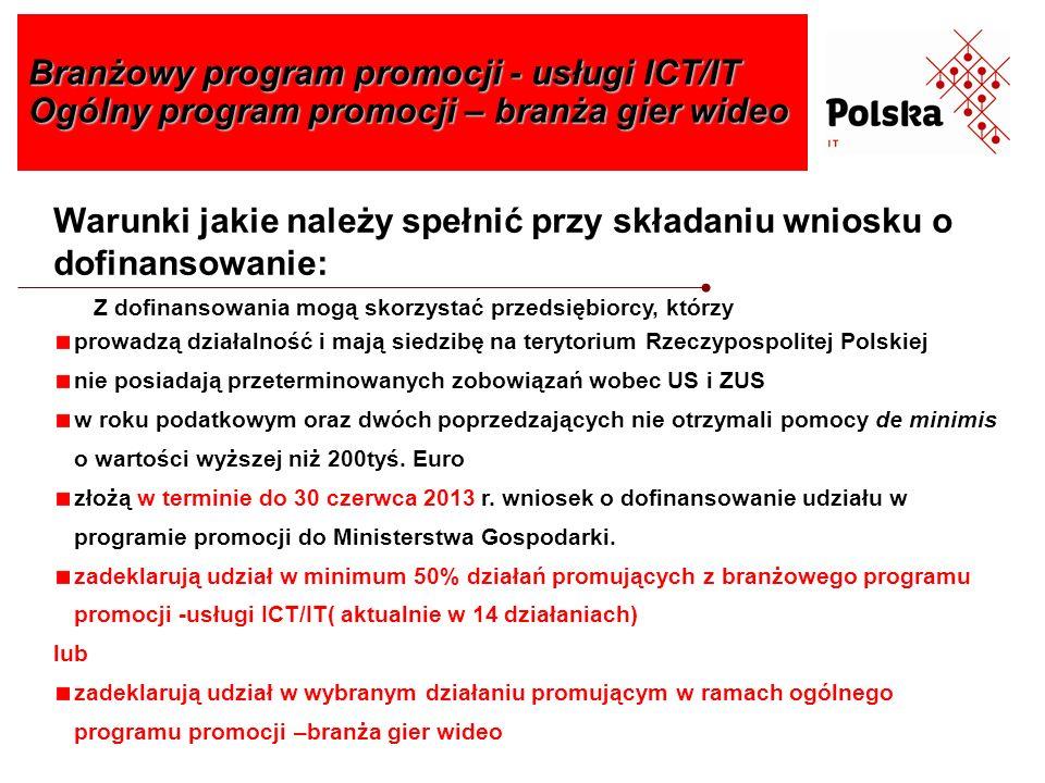 Branżowy program promocji - usługi ICT/IT Ogólny program promocji – branża gier wideo Warunki jakie należy spełnić przy składaniu wniosku o dofinansow