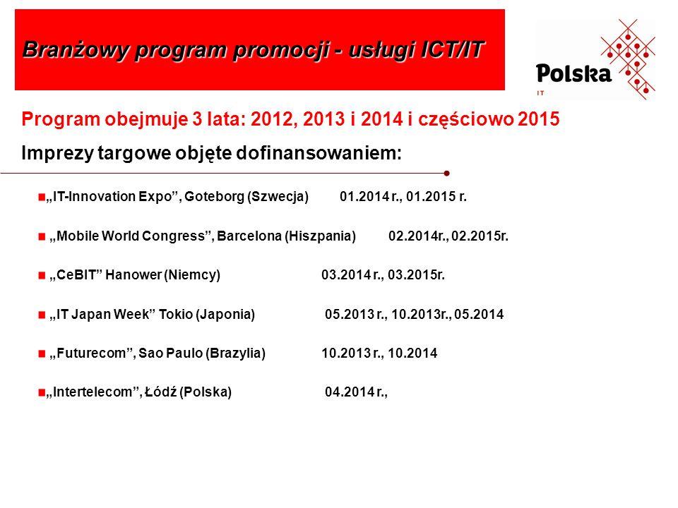 Program obejmuje 3 lata: 2012, 2013 i 2014 i częściowo 2015 Imprezy targowe objęte dofinansowaniem: Branżowy program promocji - usługi ICT/IT IT-Innov