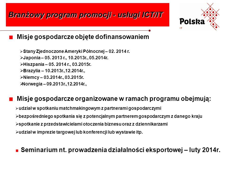 Działania promujące branżę usług ICT/IT w trakcie trwania programu Branżowy program promocji - usługi ICT/IT wizyty przyjazdowe do Polski dziennikarzy reprezentujących zagraniczne specjalistyczne media branżowe reklama w prasie zagranicznej polskiego sektora ICT/IT opracowanie znaku graficznego i hasła promującego branżę wykonanie i dystrybucja materiałów informacyjno- promocyjnych (m.in.