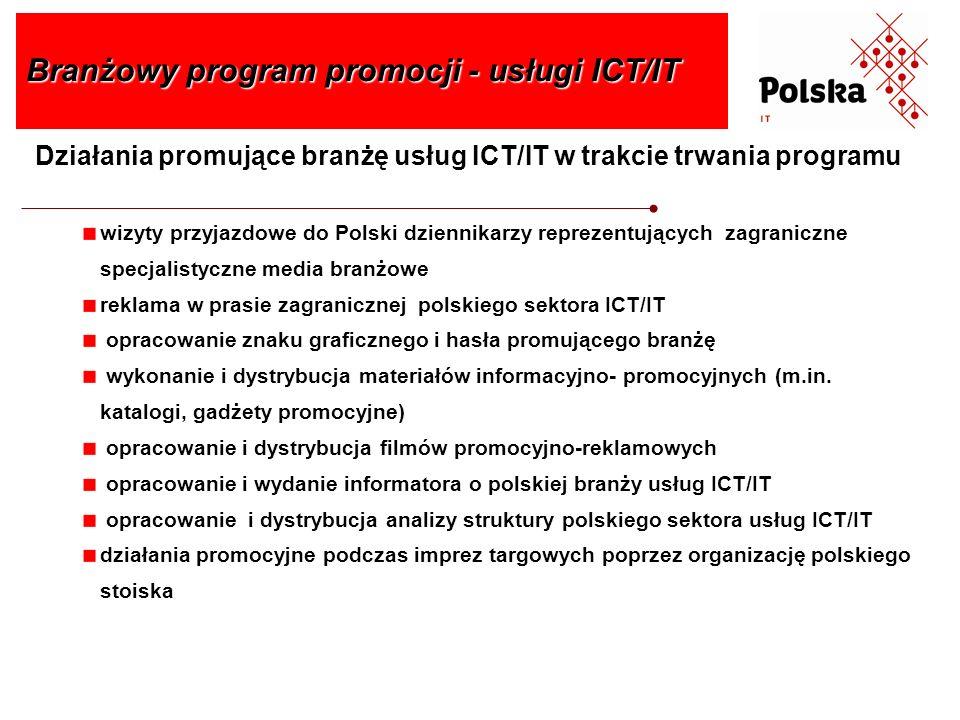 Działania promujące branżę usług ICT/IT w trakcie trwania programu Branżowy program promocji - usługi ICT/IT wizyty przyjazdowe do Polski dziennikarzy