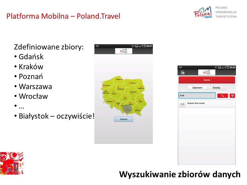 Platforma Mobilna – Poland.Travel Wyszukiwanie zbiorów danych Zdefiniowane zbiory: Gdańsk Kraków Poznań Warszawa Wrocław … Białystok – oczywiście!