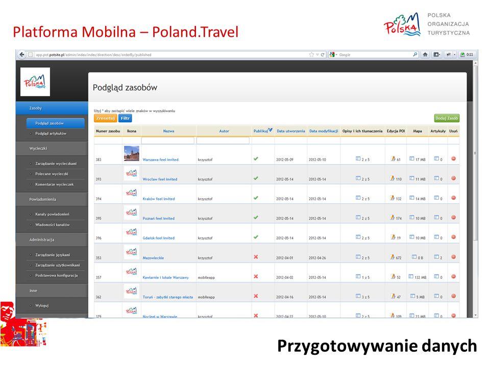 Przygotowywanie danych Platforma Mobilna – Poland.Travel