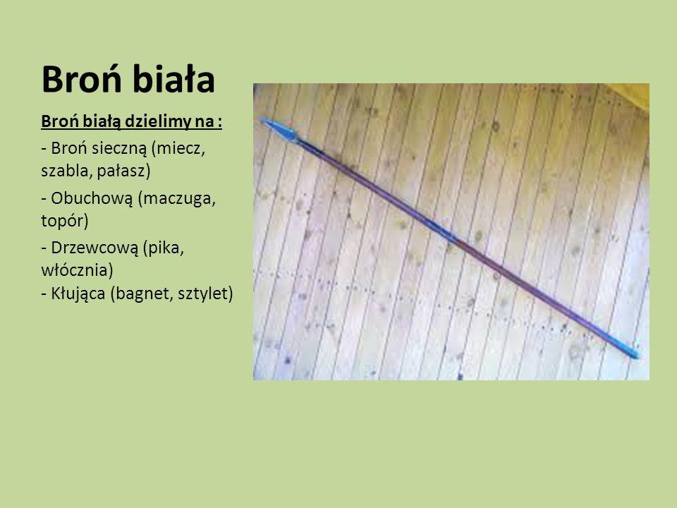 Broń biała Broń białą dzielimy na : - Broń sieczną (miecz, szabla, pałasz) - Obuchową (maczuga, topór) - Drzewcową (pika, włócznia) - Kłująca (bagnet,